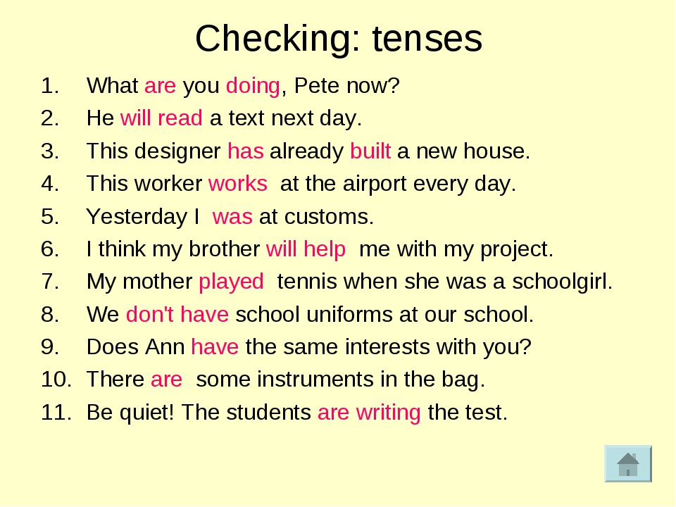 Checking: tenses What are you doing, Pete now? He will read a text next day....