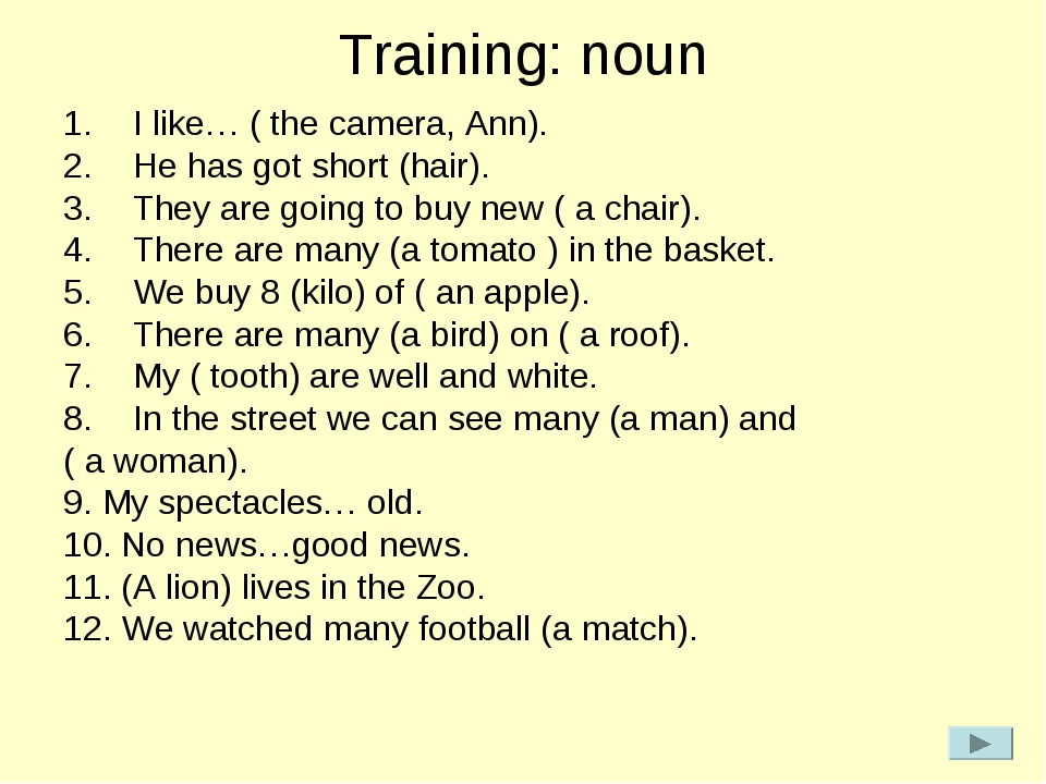 Training: noun I like… ( the camera, Ann). He has got short (hair). They are...