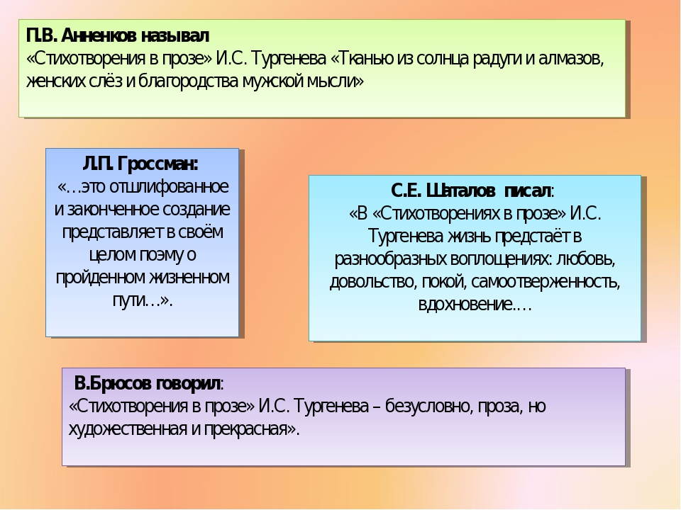С.Е. Шаталов писал: «В «Стихотворениях в прозе» И.С. Тургенева жизнь предстаё...