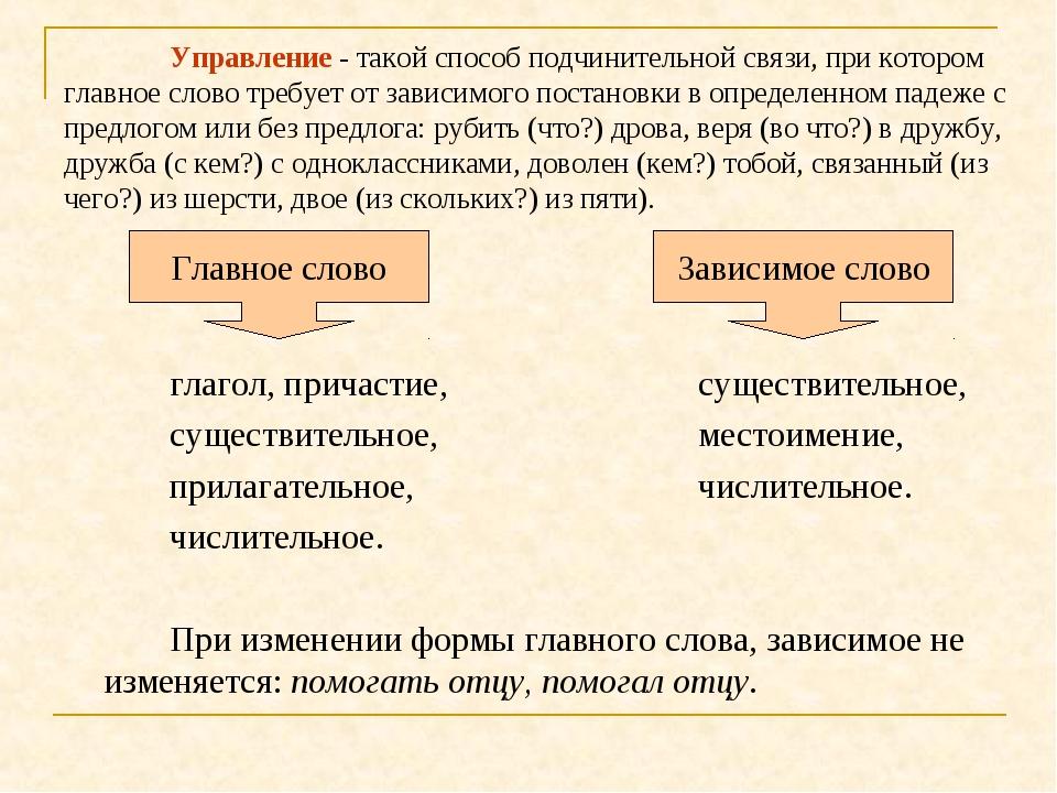 Управление - такой способ подчинительной связи, при котором главное слово тр...