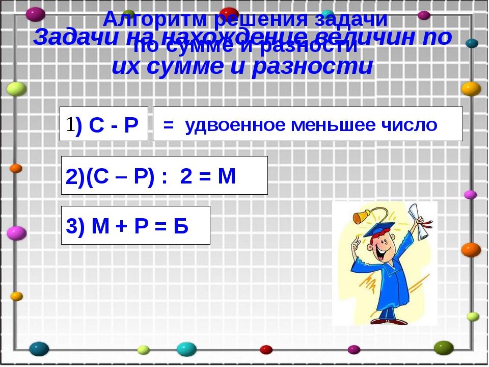 3) М + Р = Б = удвоенное меньшее число ) С - Р Алгоритм решения задачи по сум...