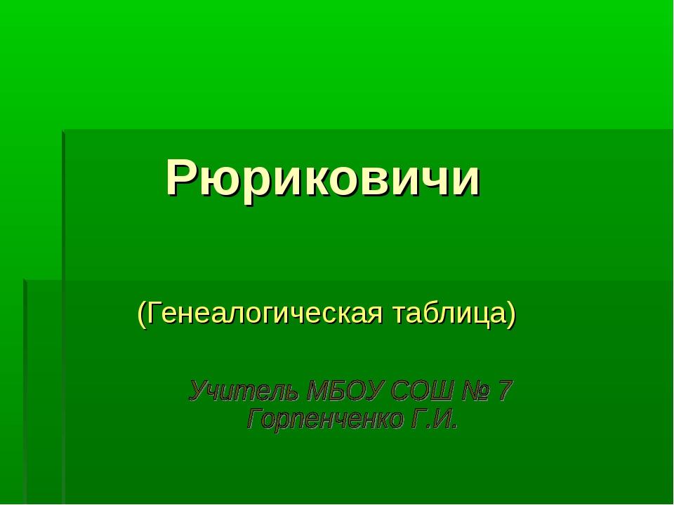 Рюриковичи (Генеалогическая таблица)