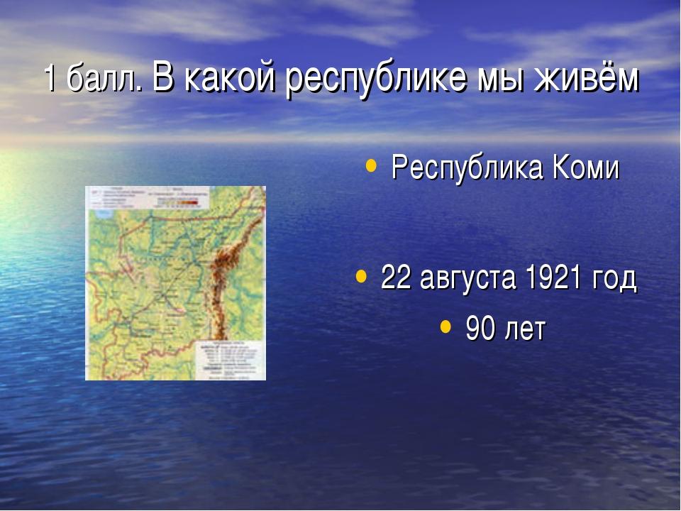 1 балл. В какой республике мы живём Республика Коми 22 августа 1921 год 90 лет
