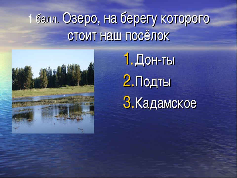 1 балл. Озеро, на берегу которого стоит наш посёлок Дон-ты Подты Кадамское