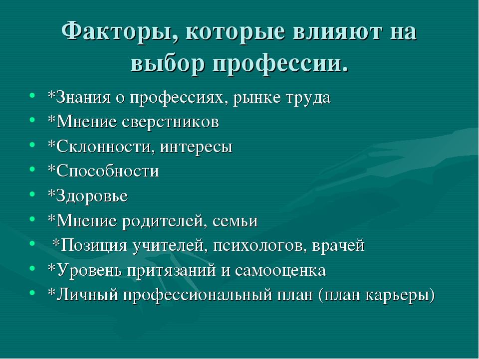 Факторы, которые влияют на выбор профессии. *Знания о профессиях, рынке труда...