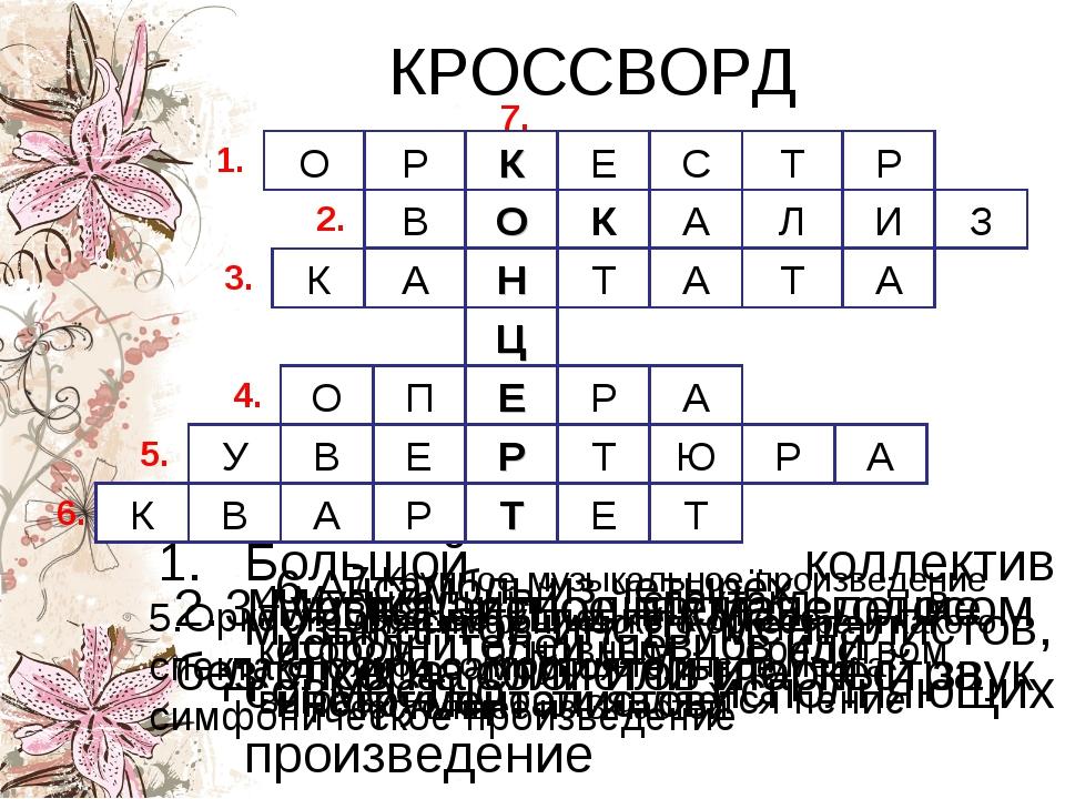 КРОССВОРД Большой коллектив музыкантов-инструменталистов, совместно исполняющ...