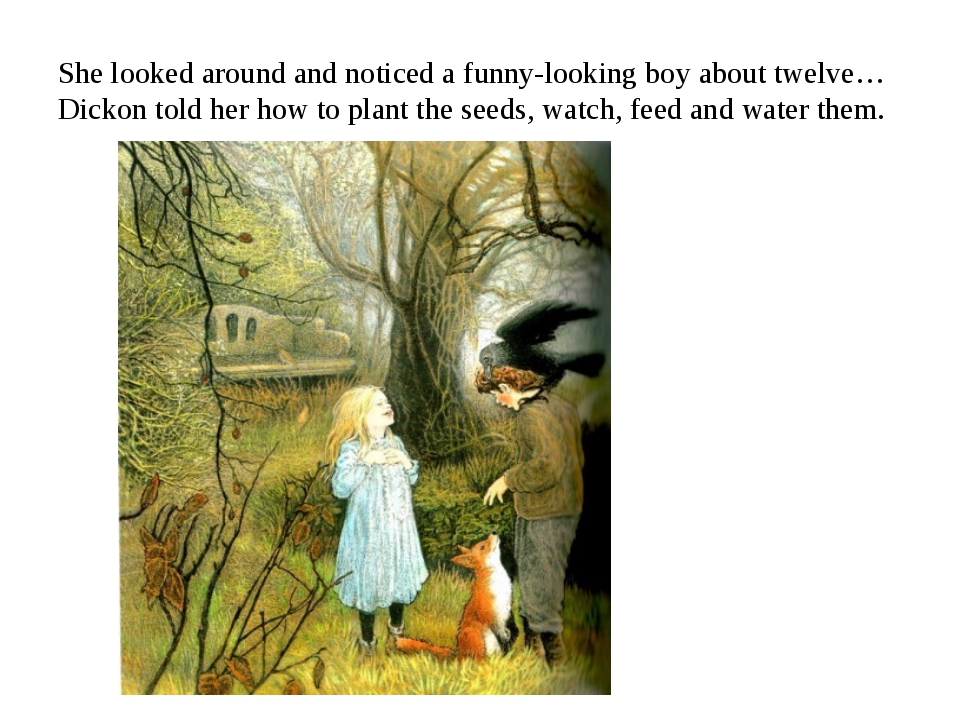 She looked around and noticed a funny-looking boy about twelve…Dickon told he...