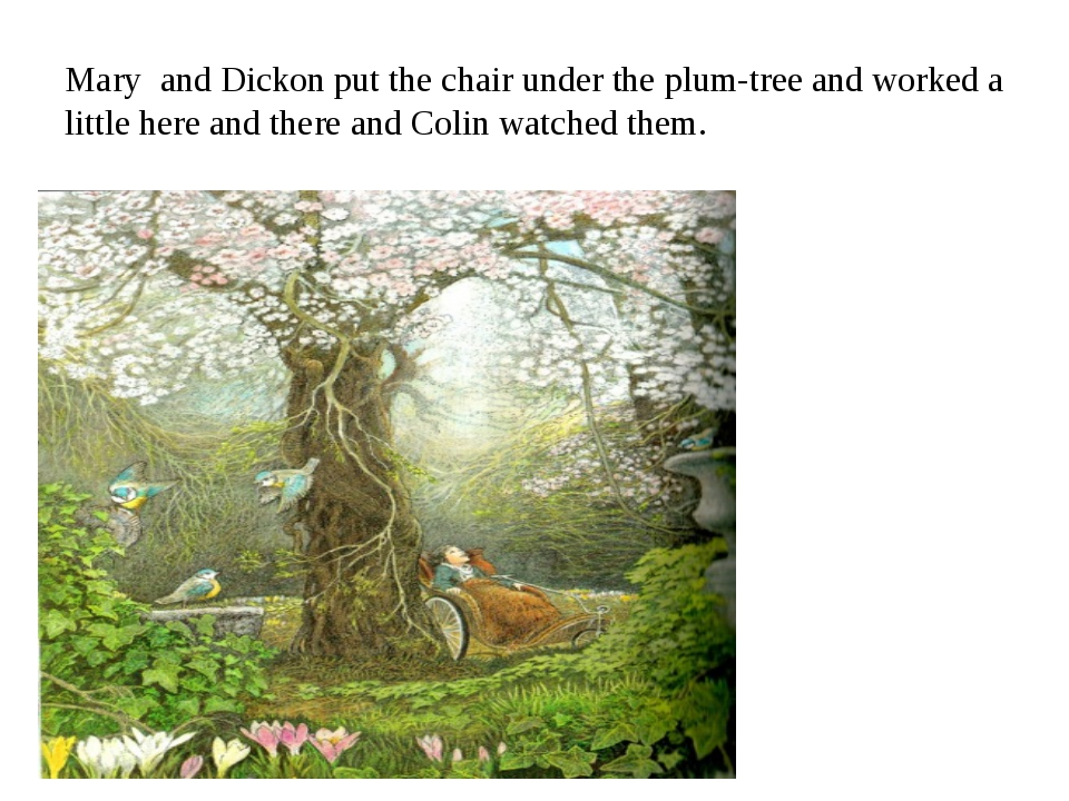 Mary and Dickon put the chair under the plum-tree and worked a little here an...