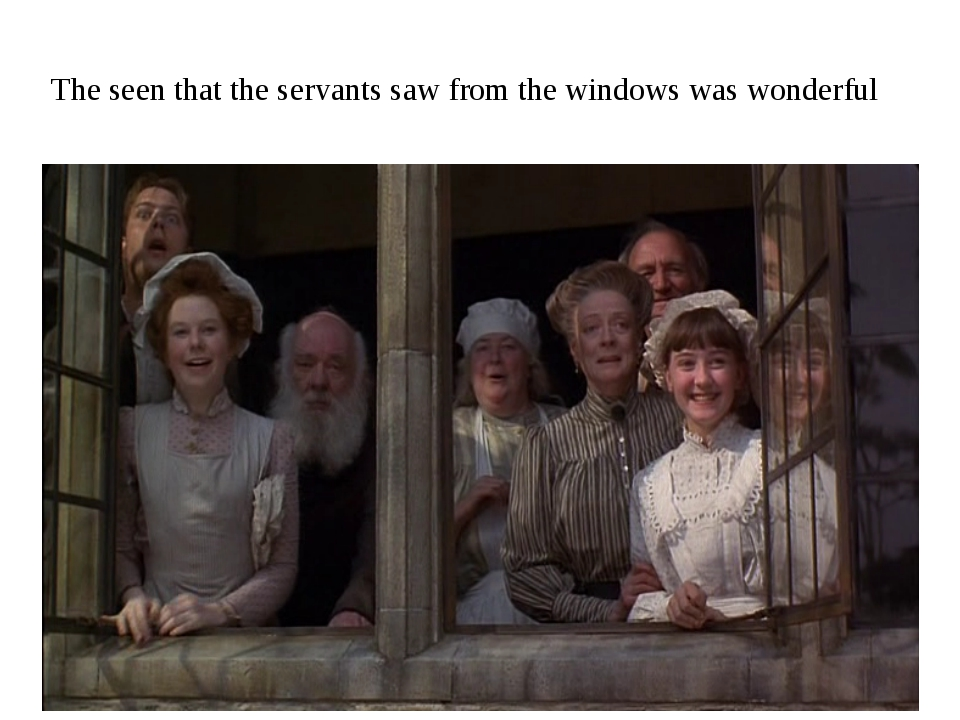 The seen that the servants saw from the windows was wonderful