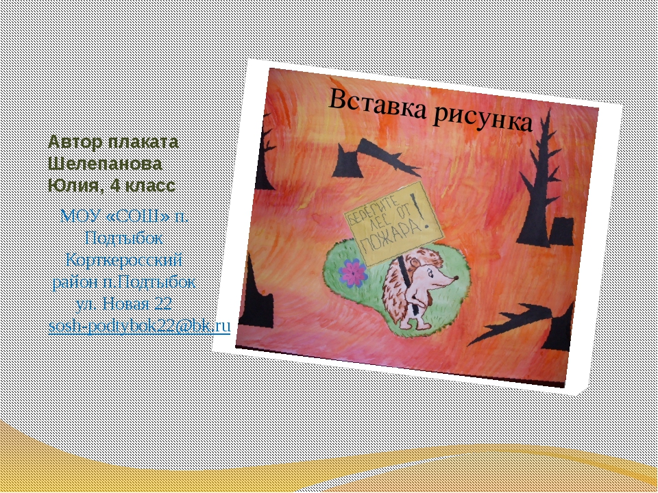 Автор плаката Шелепанова Юлия, 4 класс МОУ «СОШ» п. Подтыбок Корткеросский ра...