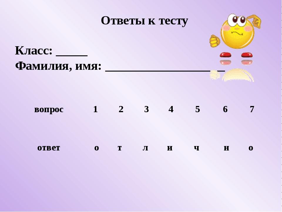 Ответы к тесту Класс: _____ Фамилия, имя: ___________________ вопрос 1 2 3 4...