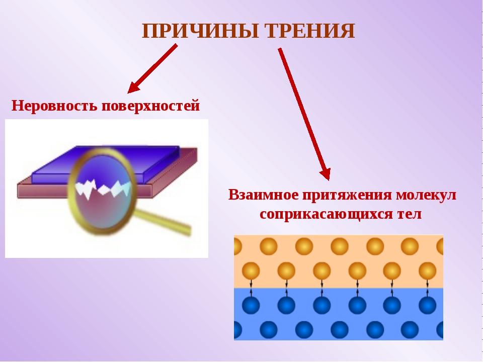 ПРИЧИНЫ ТРЕНИЯ Неровность поверхностей Взаимное притяжения молекул соприкаса...