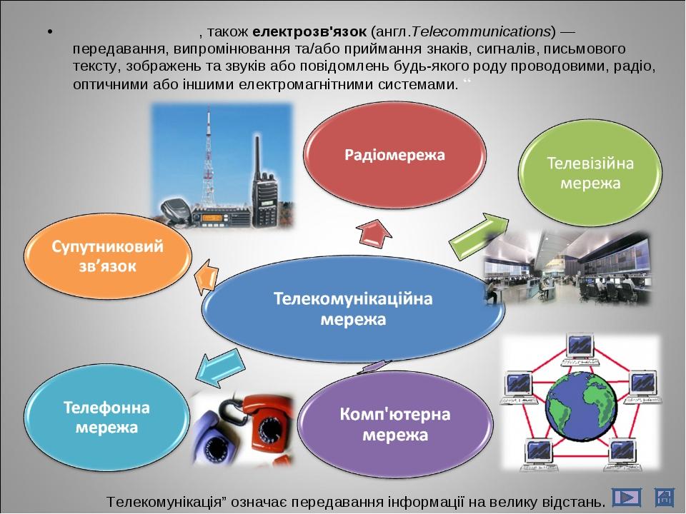 Телекомуніка́ції, також електрозв'язок (англ.Telecommunications)— передаванн...
