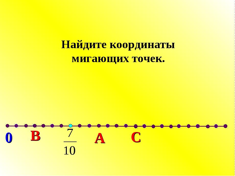 С В А 0 Найдите координаты мигающих точек.