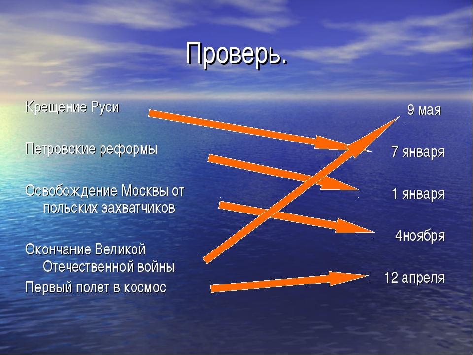 Проверь. Крещение Руси Петровские реформы Освобождение Москвы от польских зах...