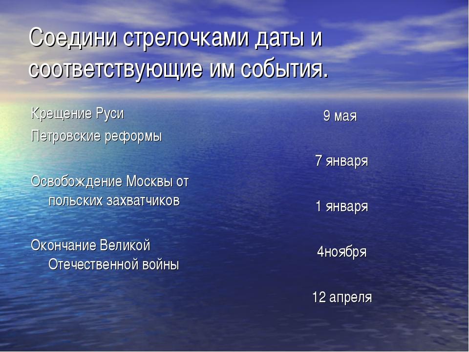 Соедини стрелочками даты и соответствующие им события. Крещение Руси Петровск...