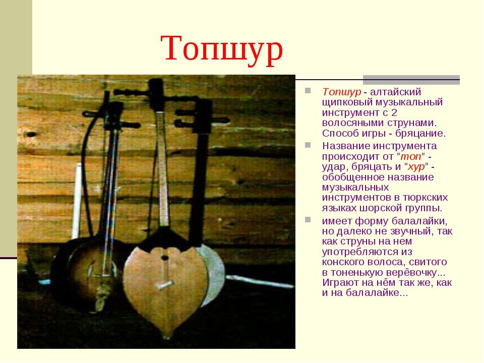 Топшур Топшур - алтайский щипковый музыкальный инструмент с 2 волосяными стр...