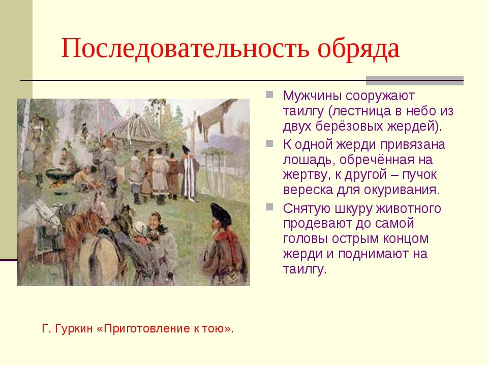 Последовательность обряда Мужчины сооружают таилгу (лестница в небо из двух...