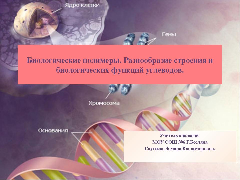 Биологические полимеры. Разнообразие строения и биологических функций углевод...