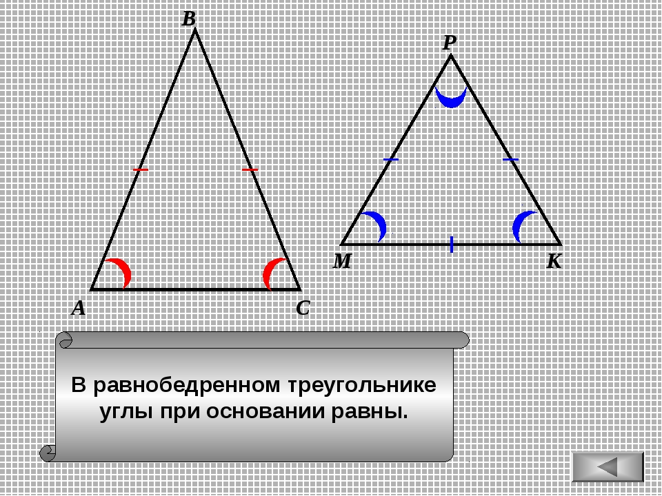 В равнобедренном треугольнике углы при основании равны. А В С М К Р