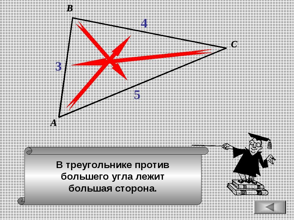В треугольнике против большего угла лежит большая сторона. А В С 3 4 5