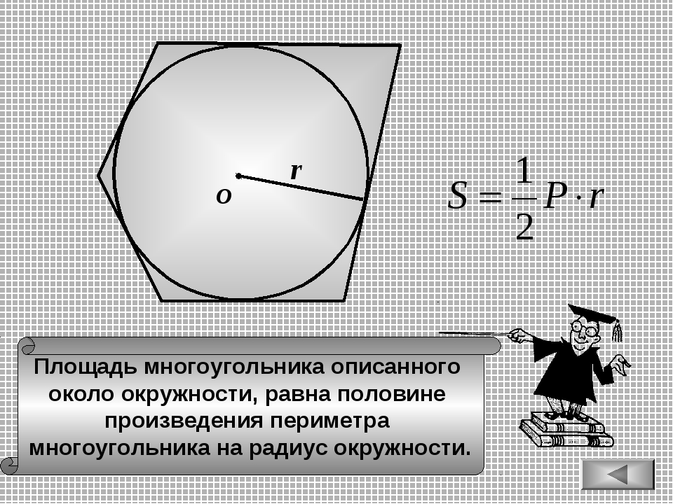 О r Площадь многоугольника описанного около окружности, равна половине произв...