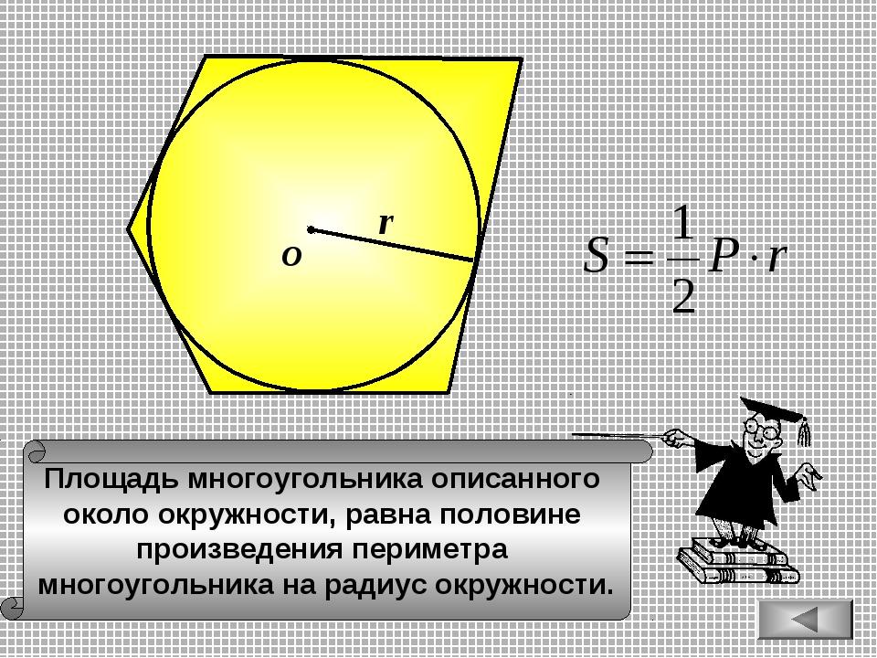 Площадь многоугольника описанного около окружности, равна половине произведен...