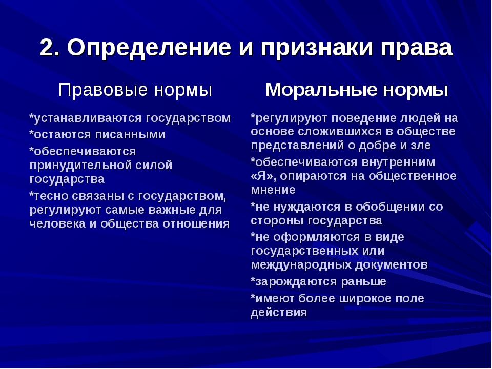 2. Определение и признаки права