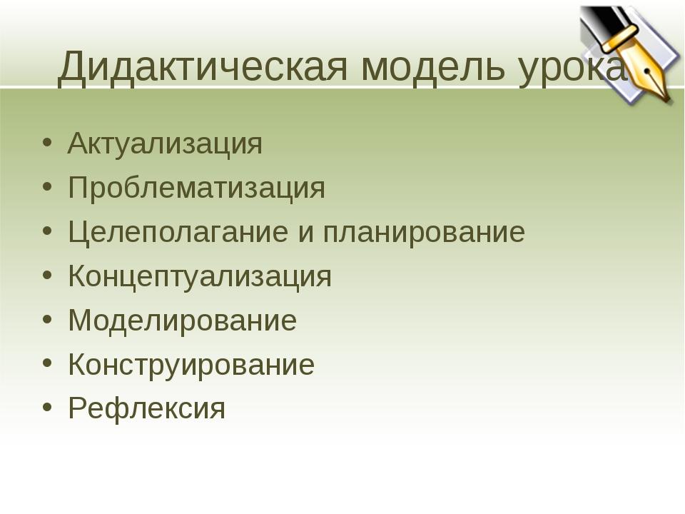 Дидактическая модель урока Актуализация Проблематизация Целеполагание и плани...