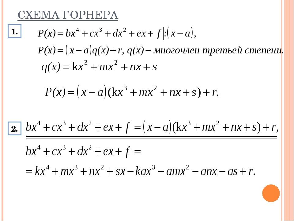 СХЕМА ГОРНЕРА 1. 2.