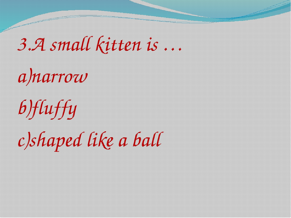 3.A small kitten is … a)narrow b)fluffy c)shaped like a ball
