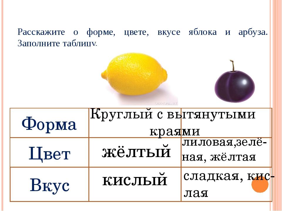 Расскажите о форме, цвете, вкусе яблока и арбуза. Заполните таблицу. Круглый...