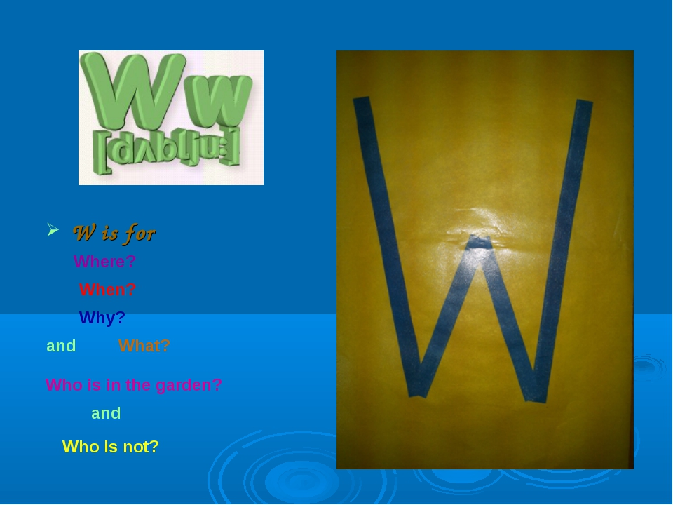 W is for Where? When? Why? and What? Who is in the garden? and Who is not?