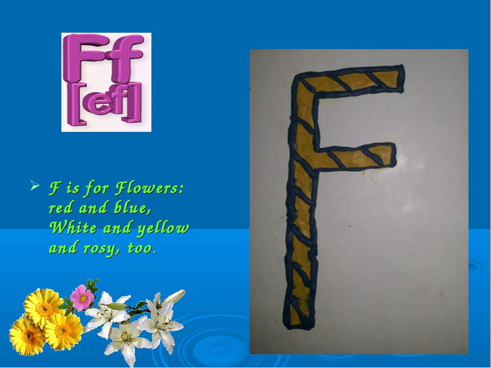 F is for Flowers: red and blue, White and yellow and rosy, too.