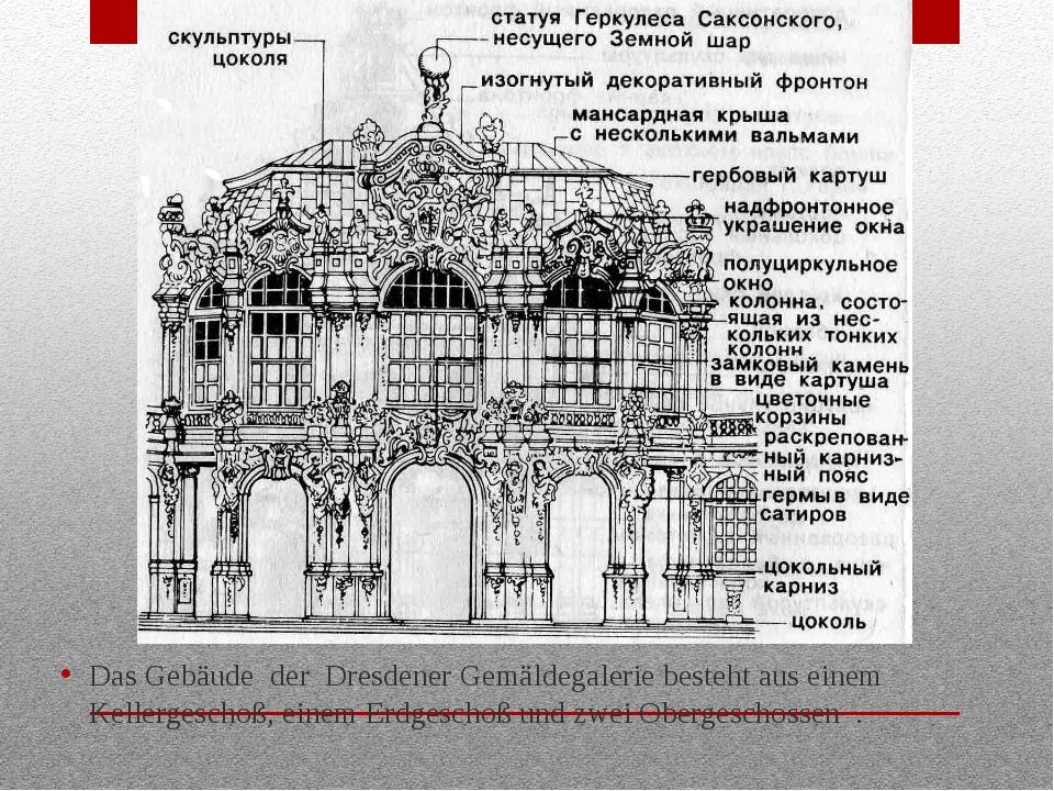 Das Gebäude der Dresdener Gemäldegalerie besteht aus einem Kellergeschoß, ein...