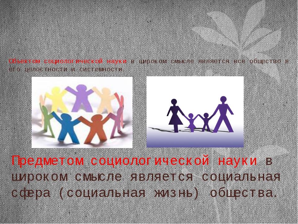 Объектом социологической науки в широком смысле является все общество в его ц...