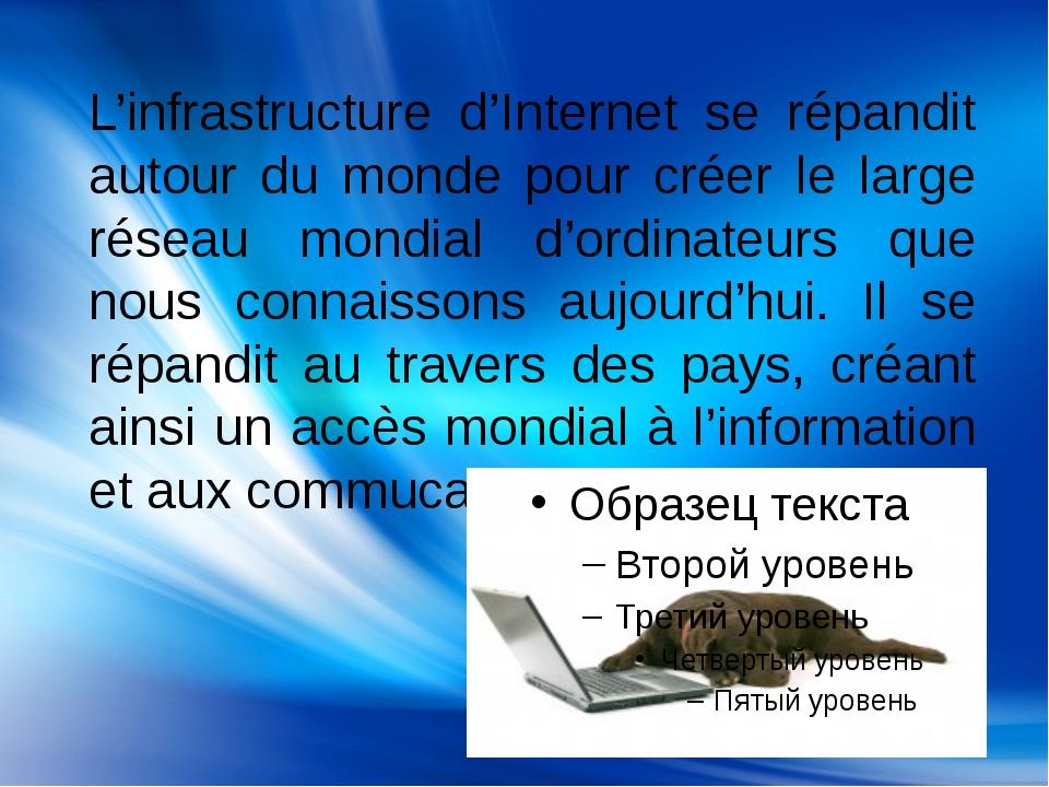 L'infrastructure d'Internet se répandit autour du monde pour créer le large r...