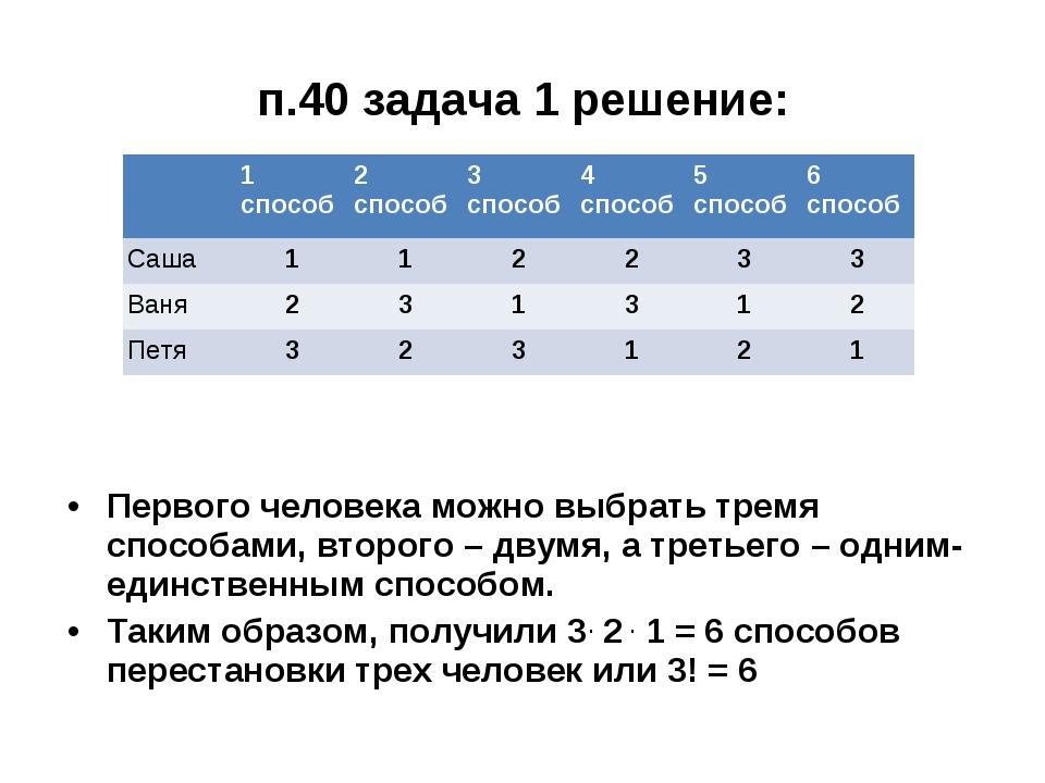 п.40 задача 1 решение: Первого человека можно выбрать тремя способами, второг...