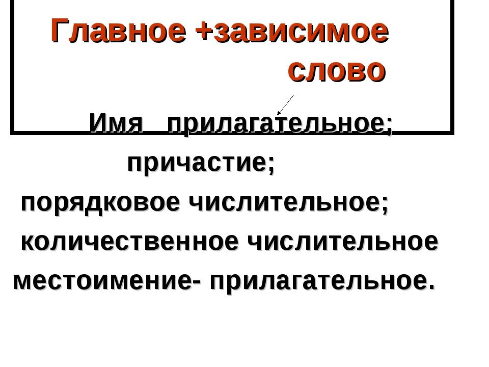Главное +зависимое слово Имя прилагательное; причастие; порядковое числитель...