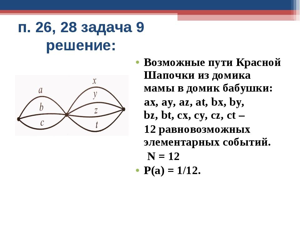 п. 26, 28 задача 9 решение: Возможные пути Красной Шапочки из домика мамы в д...