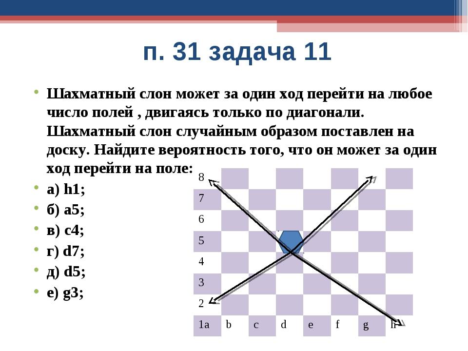 п. 31 задача 11 Шахматный слон может за один ход перейти на любое число поле...