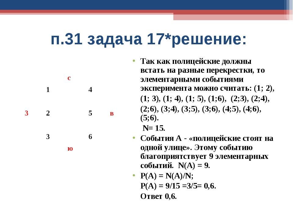 п.31 задача 17*решение: Так как полицейские должны встать на разные перекрес...