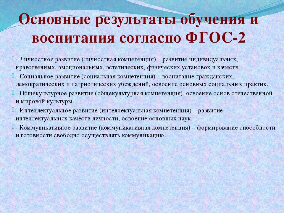 - Личностное развитие (личностная компетенция) – развитие индивидуальных, нра...