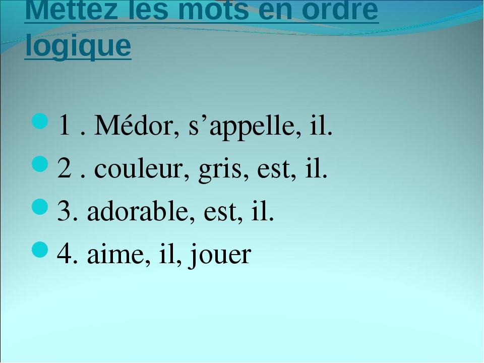 Mettez les mots en ordre logique 1. Médor, s'appelle, il. 2. couleur, gris,...