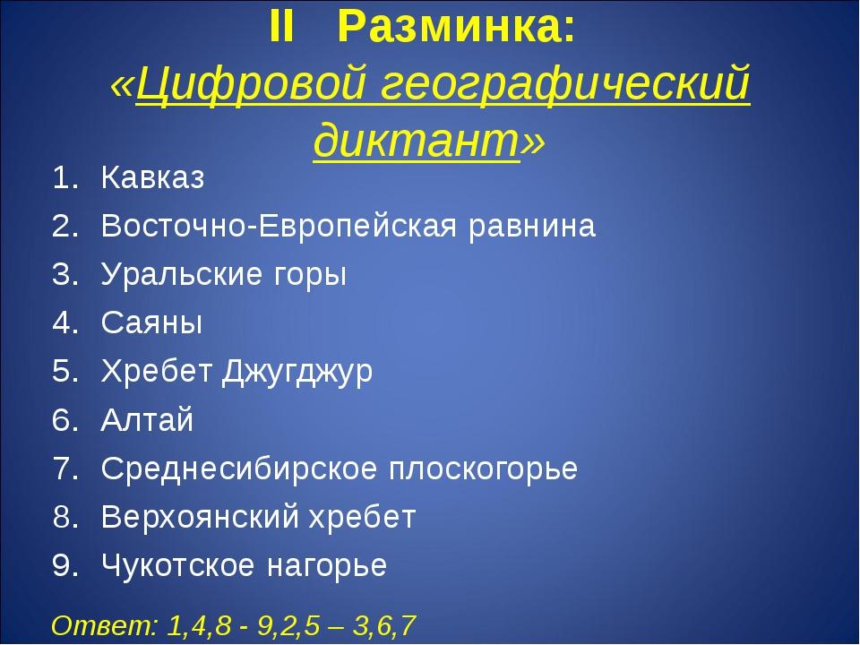 II Разминка: «Цифровой географический диктант» Кавказ Восточно-Европейская ра...