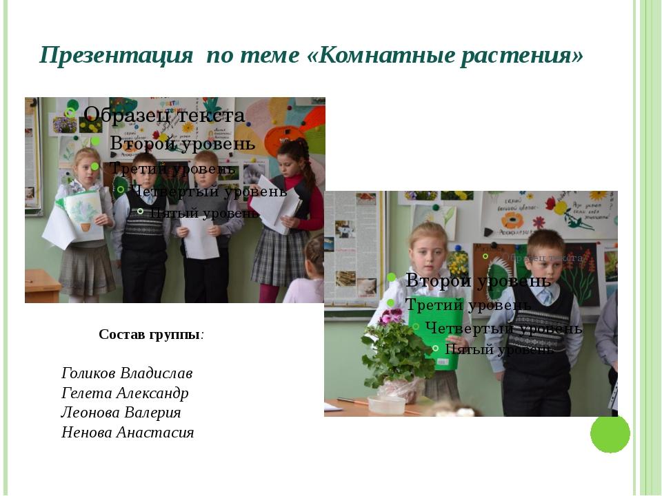 Презентация по теме «Комнатные растения» Состав группы: Голиков Владислав Гел...