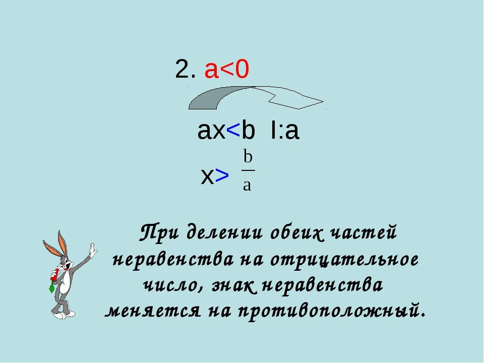 При делении обеих частей неравенства на отрицательное число, знак неравенств...