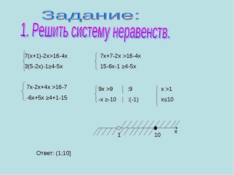 7(х+1)-2х>16-4х 3(5-2х)-1≥4-5х х Ответ: (1;10]