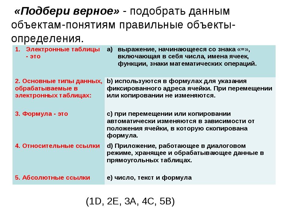 «Подбери верное» - подобрать данным объектам-понятиям правильные объекты-опр...