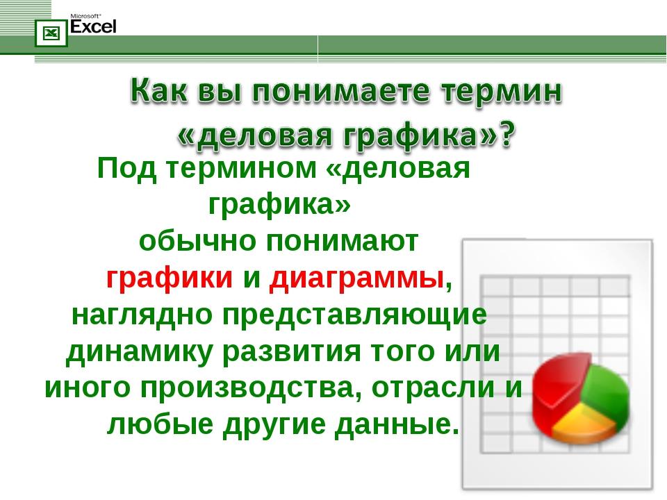 Под термином «деловая графика» обычно понимают графики и диаграммы, наглядно...